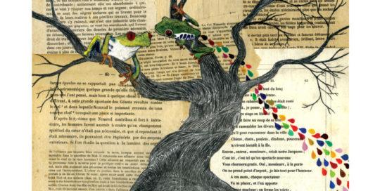 seforapons-acrylics-graphite-colouredpencils-oldpaper-symbiosis-treefrog-girl-kaeruchan
