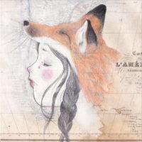 seforapons-acrylics-graphite-colouredpencils-oldmap-symbiosis-girl-fox-kitsunechan