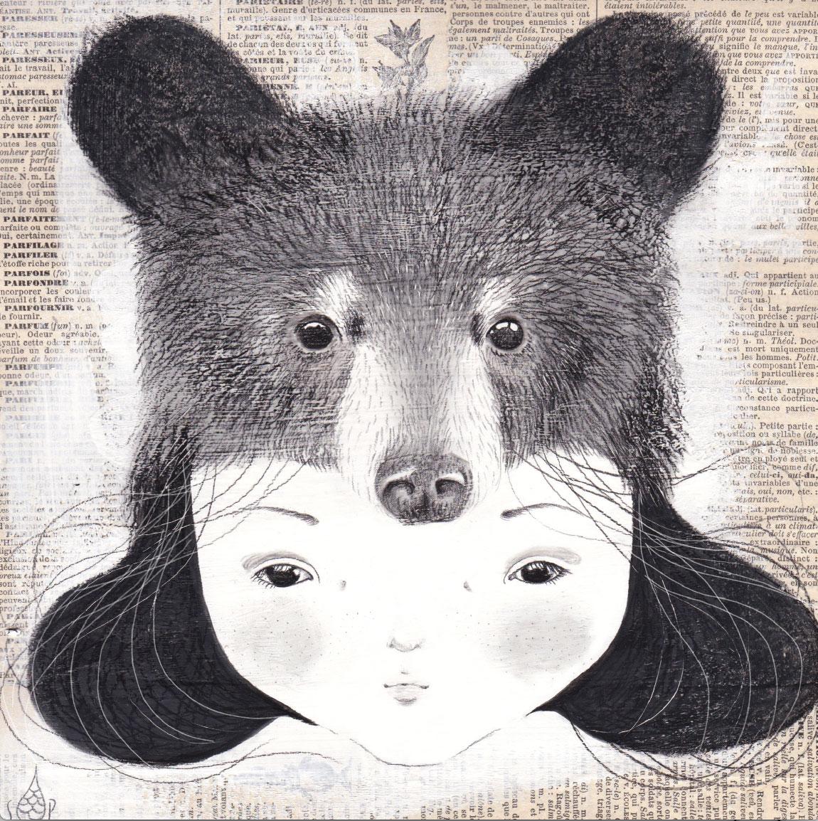 seforapons-acrylics-graphite-oldpaper-symbiosis-bear-girl-kurokuma