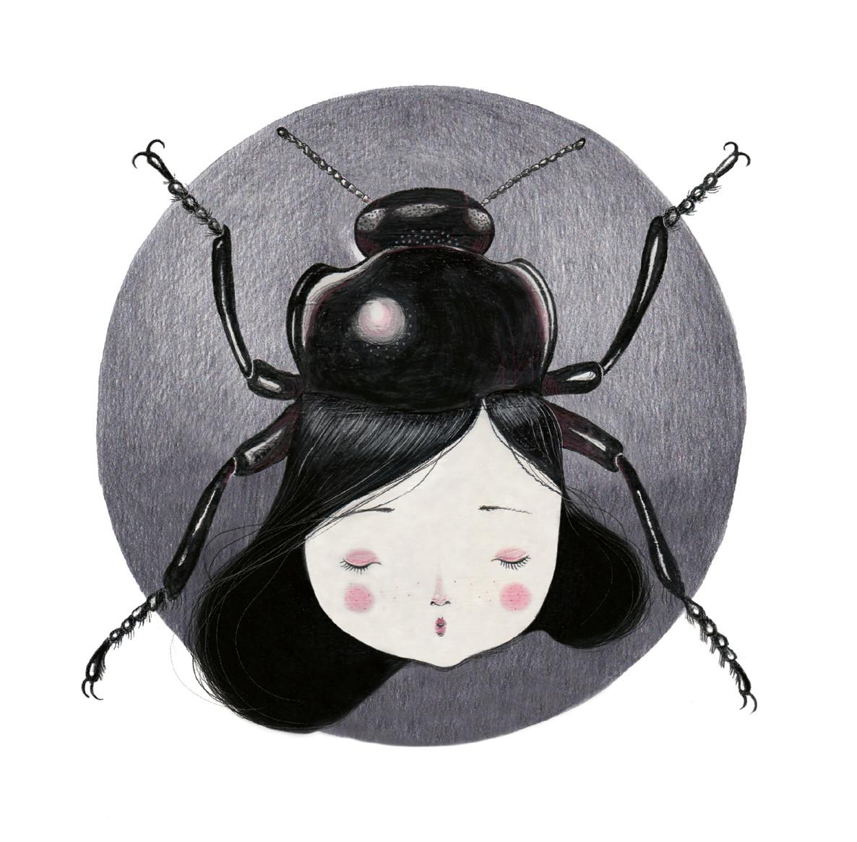 seforapons-graphite-acrylics-colouredpencil-symbiosis-beetle-girl-takochan