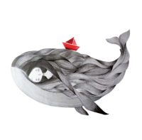 seforapons-graphite-collage-symbiosis-red-boat-whale-girl-kujirachan