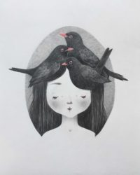 seforapons-graphite-coloured pencils-girl-blackbird-symbiosis-kurotadorichan