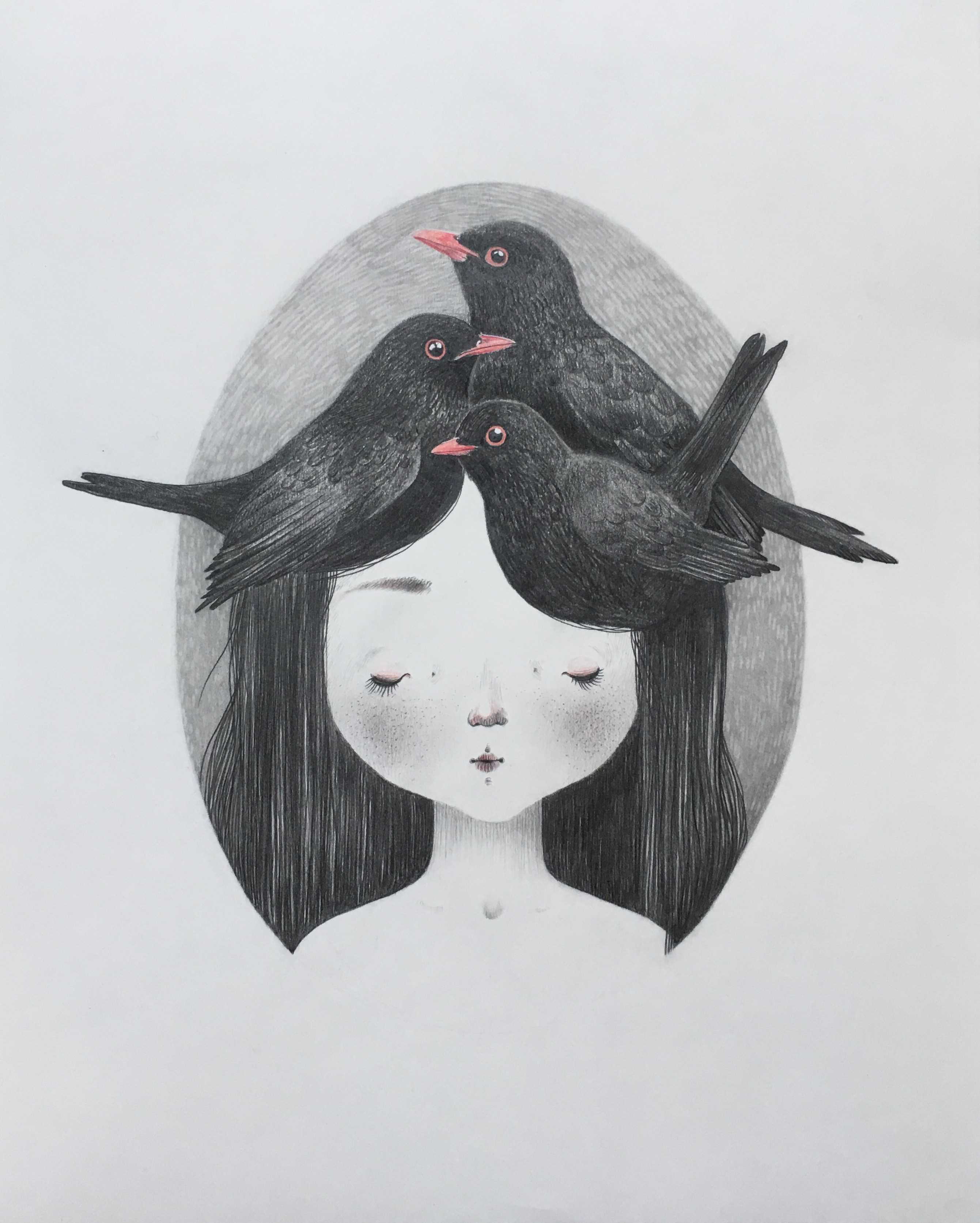 seforapons-graphite-coloured pencils-girl-blackbird-symbiosis-kurotadorichan