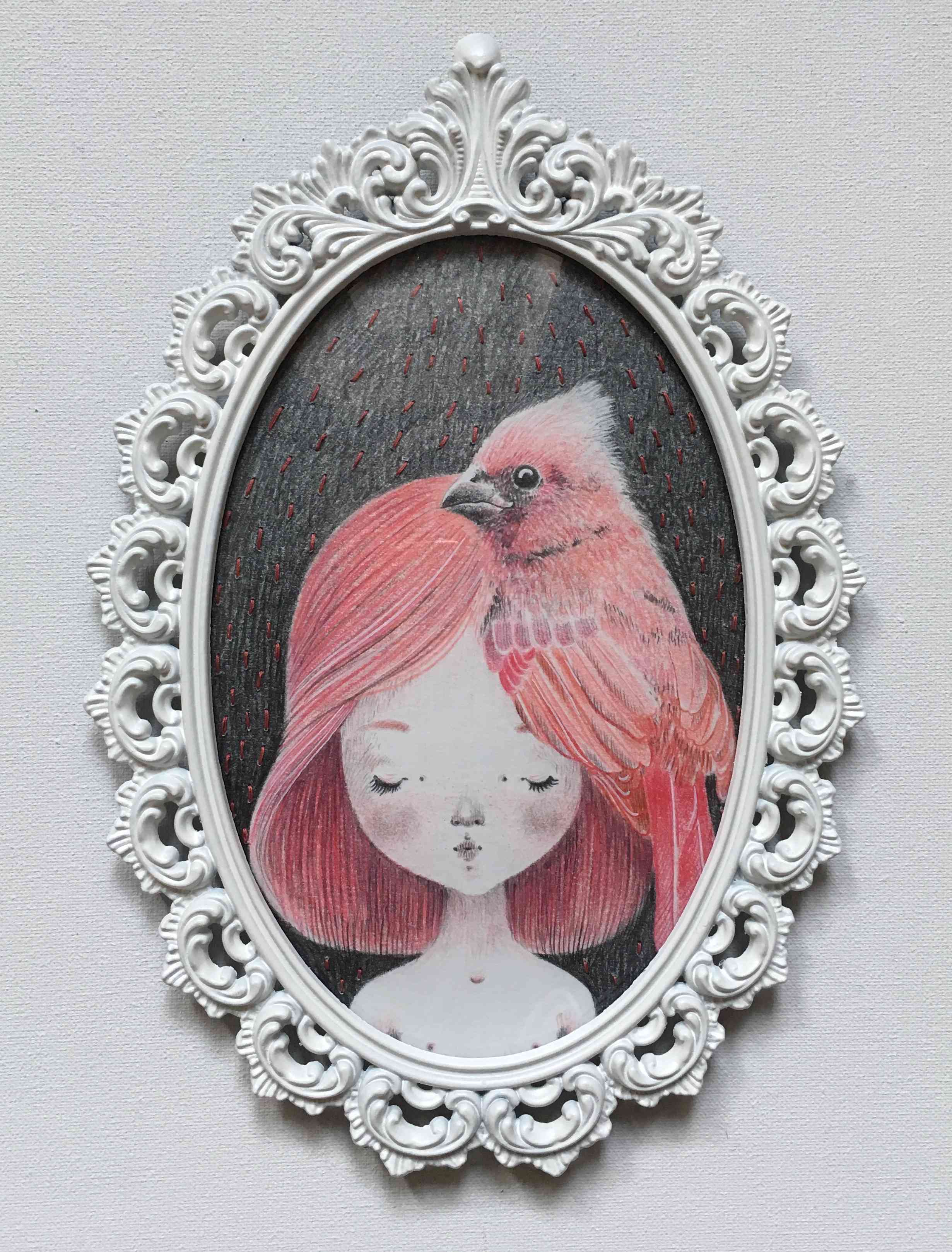 seforapons-graphite-embroidering-coloredpencil-pink-bird-girl-symbiosis-momoirochan