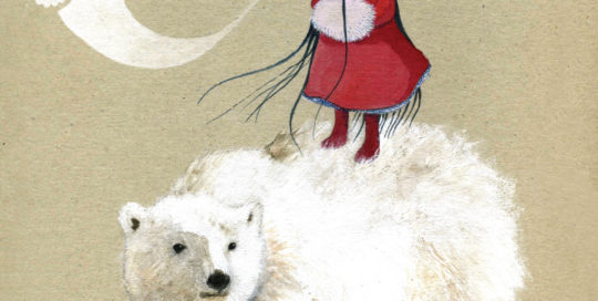 seforapons-illustration-acrylics-watercolor-girl-red-coat-whitebear-ghost
