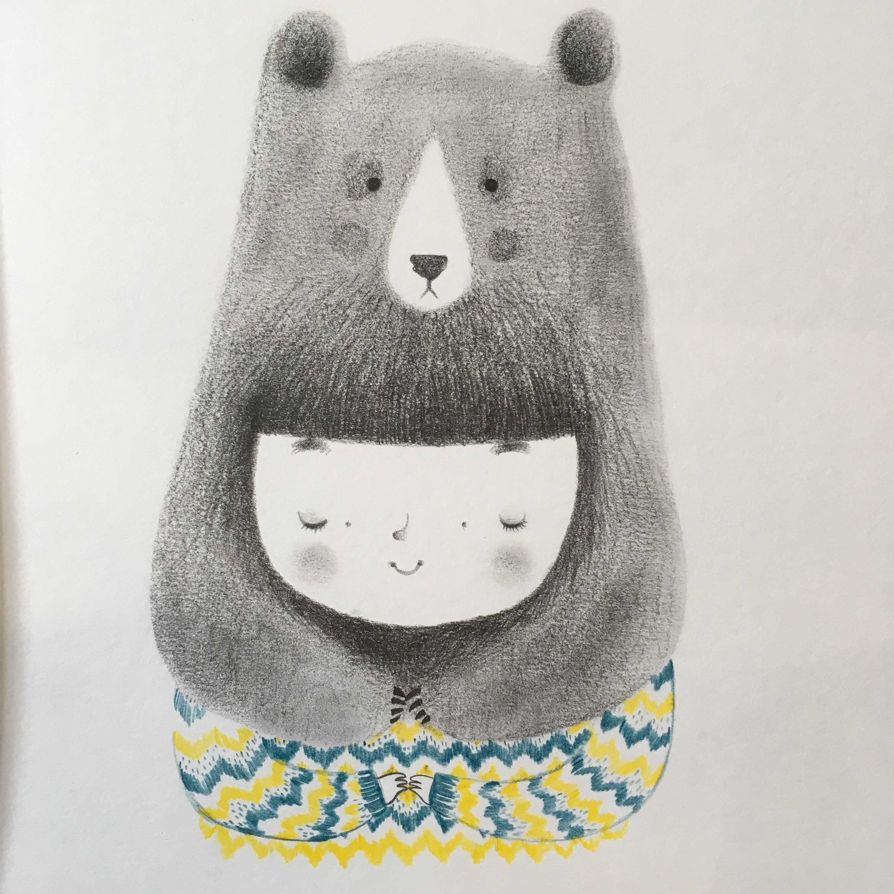 seforapons-illustration-graphite-colouredpencils-bear-girl-junkoebastian
