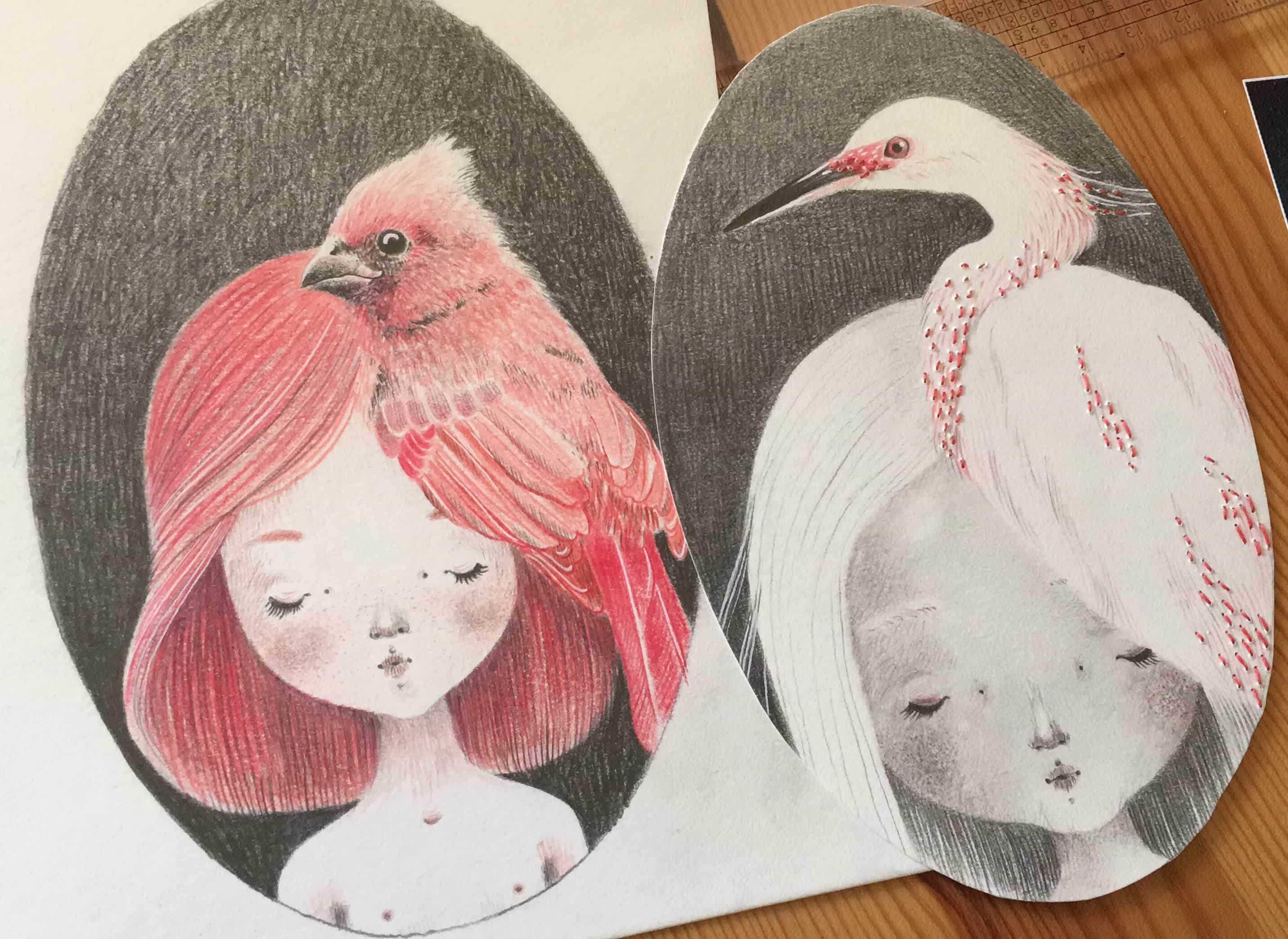 seforapons-graphite-embroidering-coloredpencil-pink-bird-girl-symbiosis-momoirochan-2