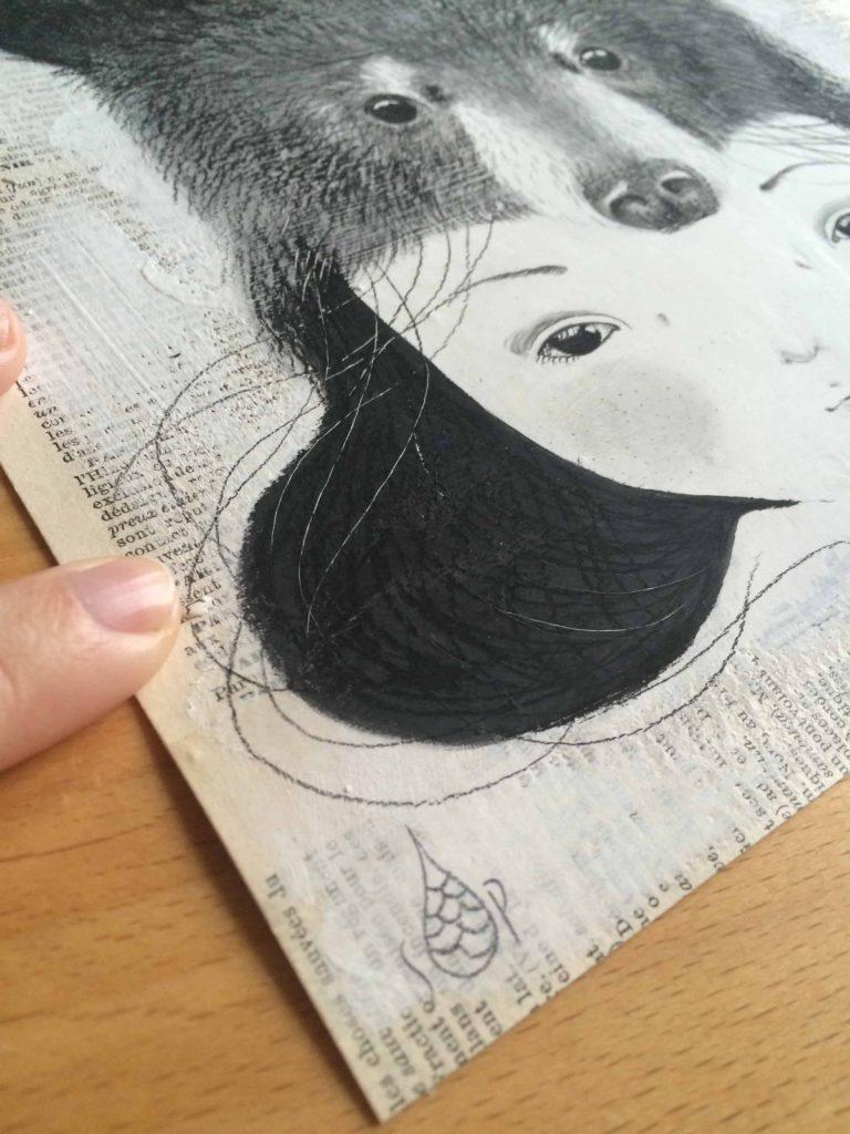 seforapons-acrylics-graphite-oldpaper-symbiosis-bear-girl-kurokuma-2