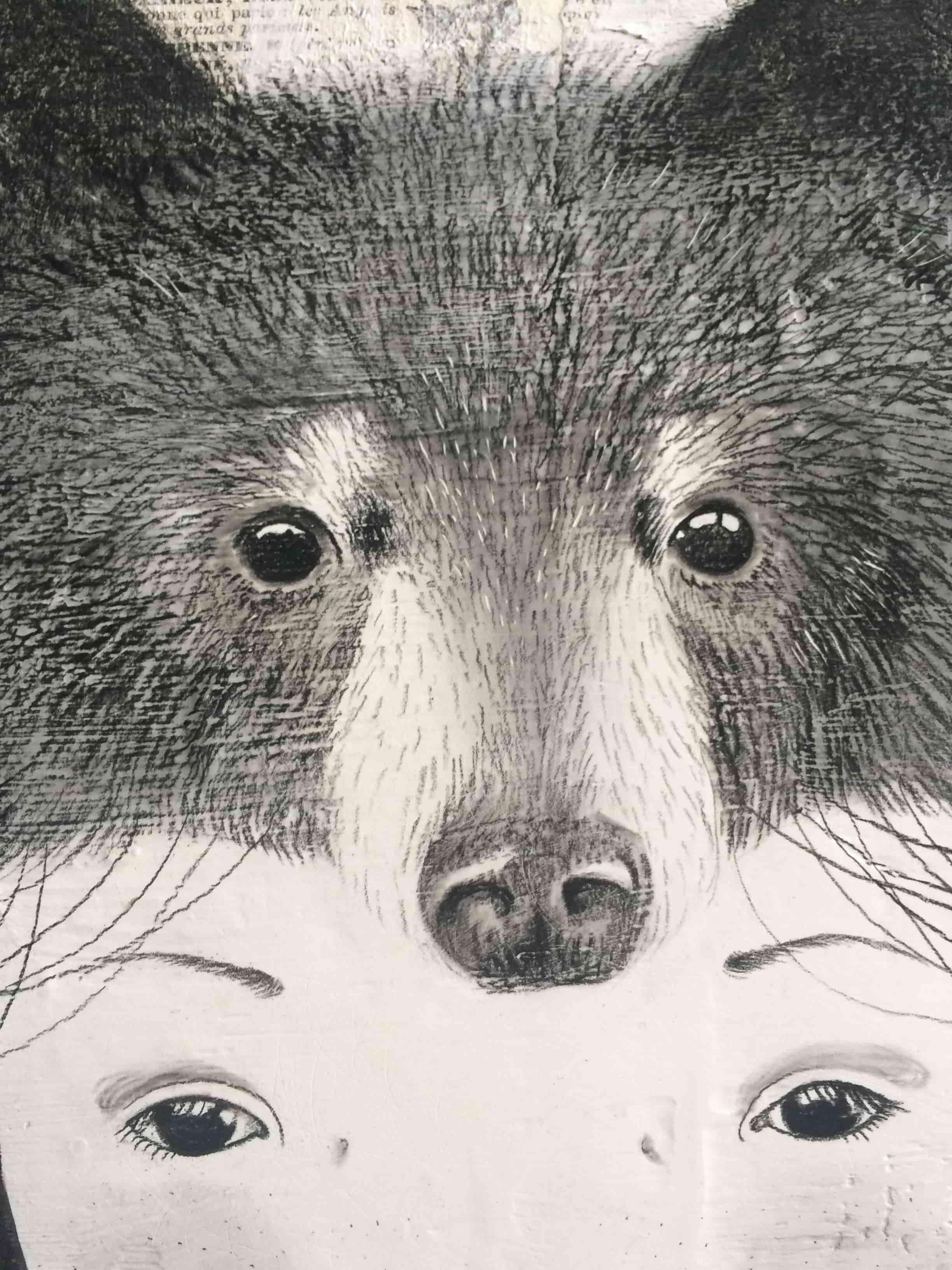 seforapons-acrylics-graphite-oldpaper-symbiosis-bear-girl-kurokuma-3