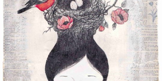 seforapons-graphite-acrylics-coloredpencils-oldpages-symbiosis-girl-nest-suchan