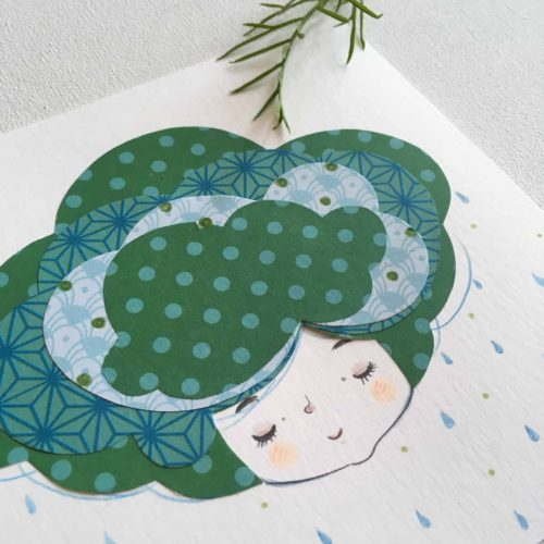 seforapons-doodles-collage-coloredpencils-girl-drops-symbiosis-greencloud2