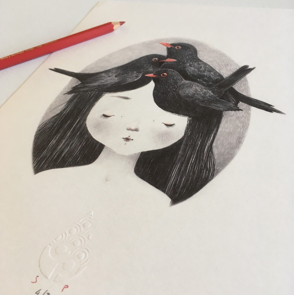 seforapons-graphite-coloured pencils-girl-blackbird-print-kurotadorichan2