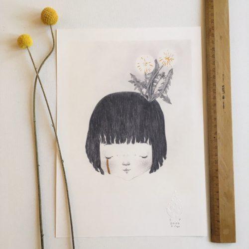 seforapons-graphite-goldleaf-symbiosis-dandelion-girl-print-tanpopochan